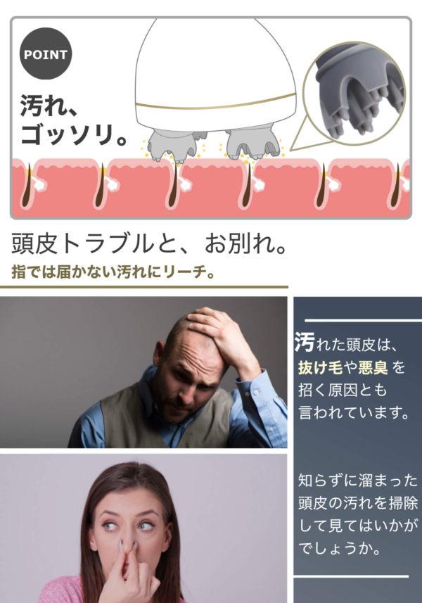 頭皮の汚れを除去するイメージ